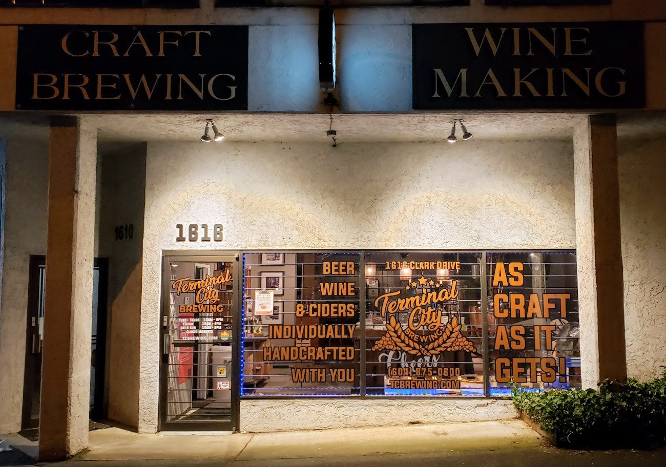 Terminal City Brewing. 1616 Clark Drive. Craft Beer, Wine and Cider Individually Handcrafted With You.